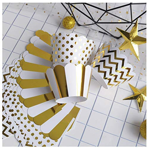 Zealax Gold Foil Cupcake Wrappers Muffins Holder Wedding Birthday Party Decoration, Set Of 24, Chevron Stripe And Polka Dot