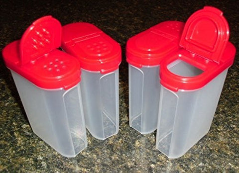 Tupperware Spice Shakers Set Of 4 Large Red Seals