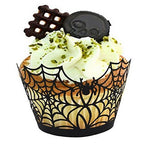 Fashionclubs Halloween Party Spiderweb Laser Cut Paper Cupcake Wrappers Wraps Linersblack