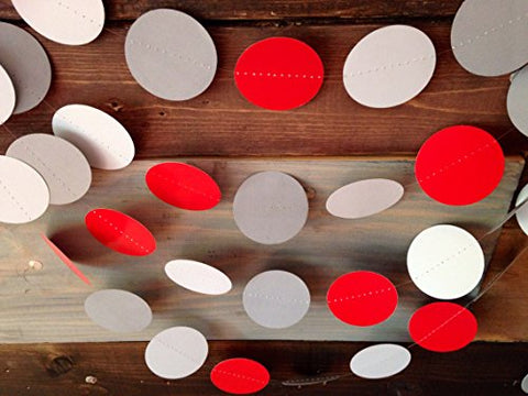 Red And Gray Ohio State Inspired Paper Garland