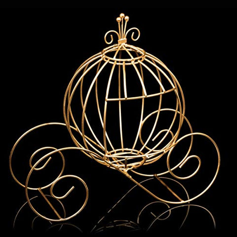 Gold Wire Cinderella Coach Centerpiece, 12 Inches High, Fairy Tale Decor, Wedding Table Centerpiece