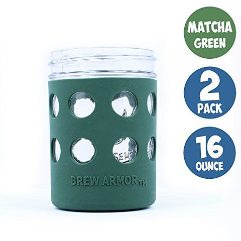 Brew Armor Silicone Mason Jar Sleeve 16 Oz. (Pint) Wide-Mouth By Brute Kitchen  (Matcha Green)