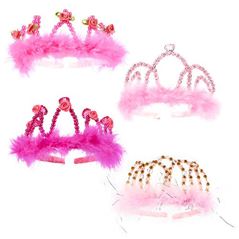 Princess Dress Up - Crown Tiara Headbands Princess Tiara With Rhinestones And Fur Birthday Party Supplies For Kids And Adults In Pink Colors