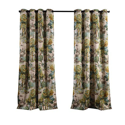 Kotile Forest Castle Nature Art Decor Watercolor Style Room Darkening Blackout Curtains With Floral Design Digital Printing, 2 Panels 63 Inch Length Grommet Window Drapes For Bedroom