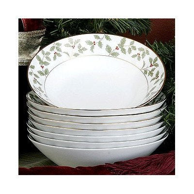 Noritake Holly And Berry Gold Soup Bowls, Set Of 8