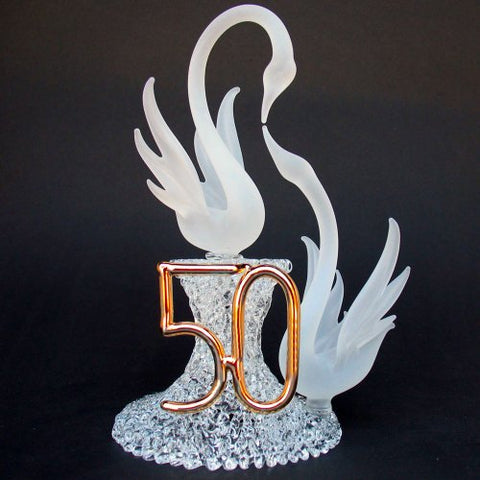 50Th Anniversary Wedding Cake Topper With Swans