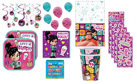 Disney Wreck-It Ralph 2 Birthday Party Supply Pack Including Dessert Plates, Napkins, Cups, Table Cover, Swirl Decorations, Balloons For Party Of 16