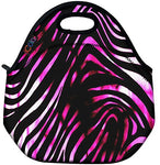 Icolor Zebra Pink Insulated Neoprene Lunch Bag Tote Handbag Lunchbox Food Container Gourmet Tote Cooler Warm Pouch For School Work Office