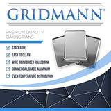 Gridmann 9 X 13 Commercial Grade Aluminium Cookie Sheet Baking Tray Jelly Roll Pan Quarter Sheet - 12 Pans