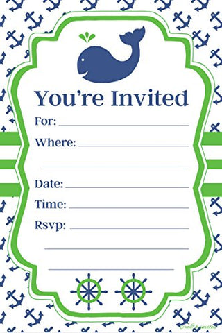 Nautical Whale Themed Party Invitations - Fill In Style (20 Count) With Envelopes