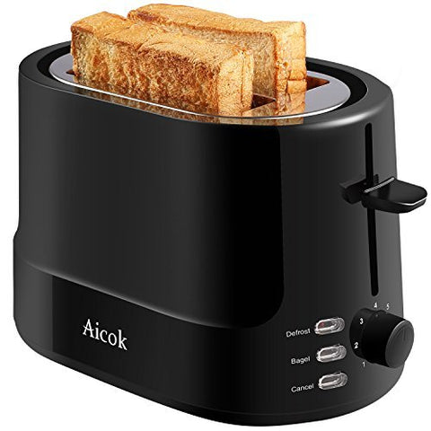 Aicok Toaster 2 Slice, With 7 Toast Shade Settings And Defrost Functions, Easy To Clean, Keep Warm Toasters, Black