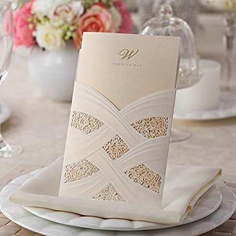 Doris Home Vertical Laser Cut Wedding Invitation With White Hollow Flora 100 Pcs