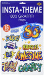 Beistle 52070 Printed 80'S Grafitti Props, 3 To 3' 7, 15 Pieces In Package