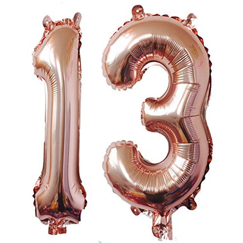 40Inch Rose Gold Foil 13 Helium Jumbo Digital Number Balloons, 13Th Birthday Decoration For Girls Or Boys,13 Birthday Party Supplies