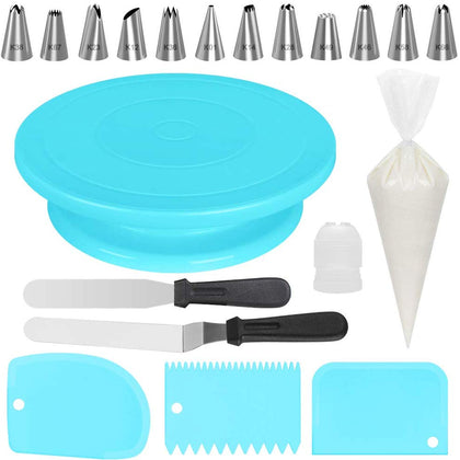Kootek All-In-One Cake Decorating Kit Supplies With Revolving Cake Turntable, 12 Cake Decorating Tips, 2 Icing Spatula, 3 Icing Smoother, 50 Disposable Pastry Bags And 1 Coupler Baking Set, Blue