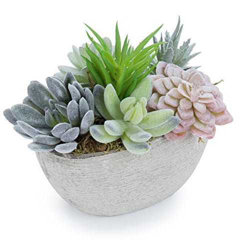 Mygift 7-Inch Tabletop Assorted Artificial Succulent Plants In Decorative Oval Textured Pulp Pot