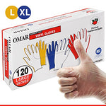 Omar Clear Vinyl Gloves 120Pc. - Multi-Purpose Gloves, Powder-Free, Latex-Free, Non-Sterile, Work, Food Service, Cleaning, Allergy-Free, Smooth, Economical, Large/X-Large, Clear