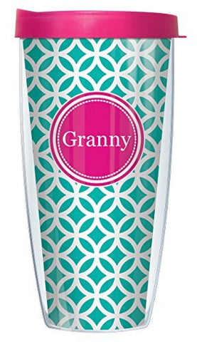Granny On Teal Roundabout Wrap Super Traveler 22 Oz Tumbler Mug With Lid