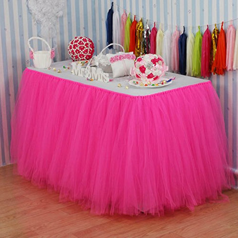 Vlovelife Hot Pink Tulle Table Skirt Tutu Tableware Tablecloth Party Baby Shower Birthday Wedding Decorations Favor 100Cm X 80Cm Customized Size Available