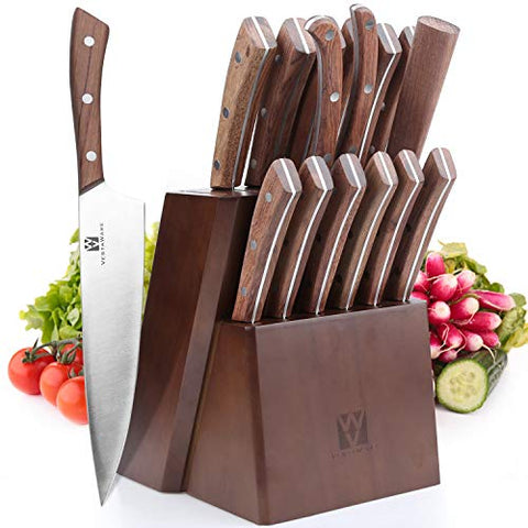 Vestaware Knife Set, 16-Piece Chef Knife Set With Wooden Block, Stainlesssteel Kitchen Knives Set With Knife Sharpener, 6 Steak Knives And Bonusscissors
