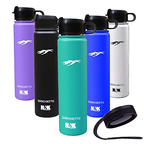 7503ca847e Quench Bottle Flip Top Lid 24Oz. Double Wall Vacuum Insulated Water Bottle.  Premium Grade