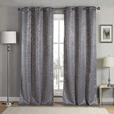Kensie Maddie Metallic Blackout Darkening Window Curtain Set Of 2 Panels, 38 X 96, Gray