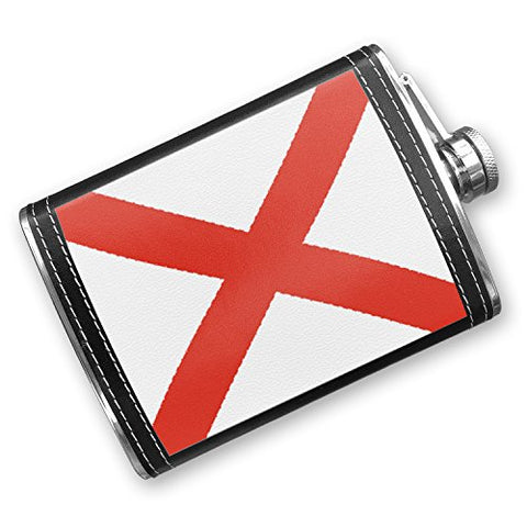 8Oz Flask Stitched Alabama Flag Region: America (Usa) Stainless Steel - Neonblond