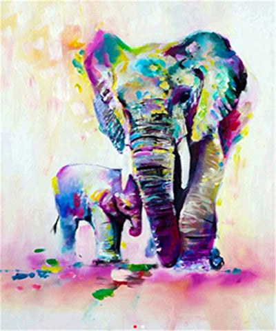 5D Diy Diamond Painting, Paint With Diamonds Embroidery 3D Diamond Painting Kit For Wall Decor - Elephants 12 X 16Inch