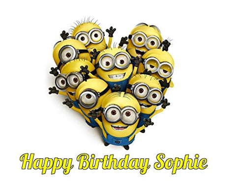Minions Despicable Me Edible Image Photo Cake Topper Sheet Personalized Custom Customized Birthday Party - 1/4 Sheet - 74532