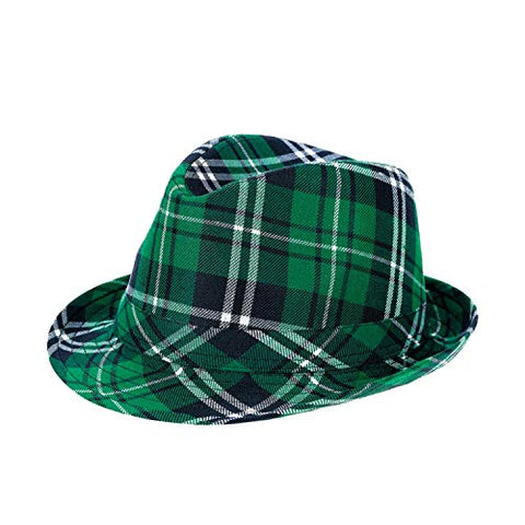 Avoin Colorlife Unisex St Patricks Day Green Plaid Fedora Hat | Irish Party Funny Accessory
