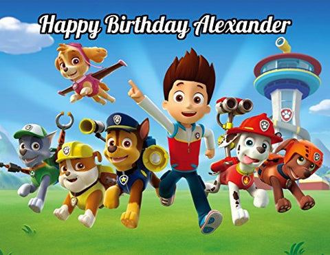 Paw Patrol Edible Image Photo Cake Topper Sheet Personalized Custom Customized Birthday Party - 1/4 Sheet - 78844