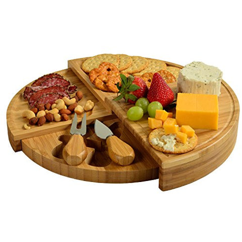 Picnic At Ascot Florence Transforming Bamboo Cheese Board Set With 2 Cheese Tools Stored In Lower Level Of Board (Smaller Version Of Our Vienna Transforming Cb40)