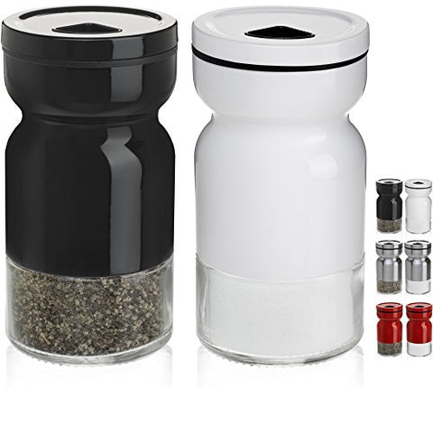 Chefvantage Salt And Pepper Shakers Set With Adjustable Pour Holes - Black And White