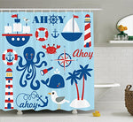 Ambesonne Nautical Decor Collection, Cute Cheerful Sea Objects Collection Palm Trees Octopus Spyglass Sea Gull Image, Polyester Fabric Bathroom Shower Curtain, 84 Inches Extra Long, Navy Blue Red