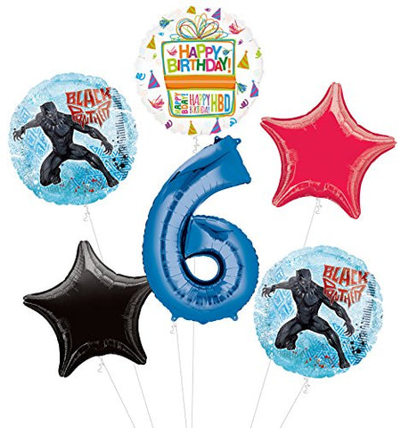 Black Panther 6Th Birthday Party Supplies Balloon Bouquet Decorations
