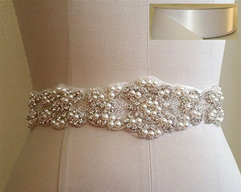 Trlyc Blush Ribbon Sash Handmade Wedding Dress Bridal Sash Belt Appliques Rhinestone Satin Crystal= 21 Long