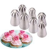 Uten 7Pcs/Set Stainless Steel Sphere Ball Russian Piping Tips Icing Nozzles Cupcake Diy Decor Baking Tool