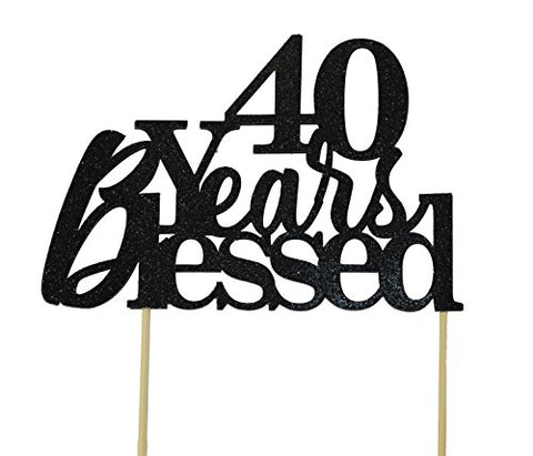 All About Details Black 40-Years-Blessed Cake Topper