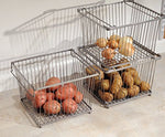 Mdesign Wire Storage Basket For Kitchen, Pantry, Cabinet - Silver