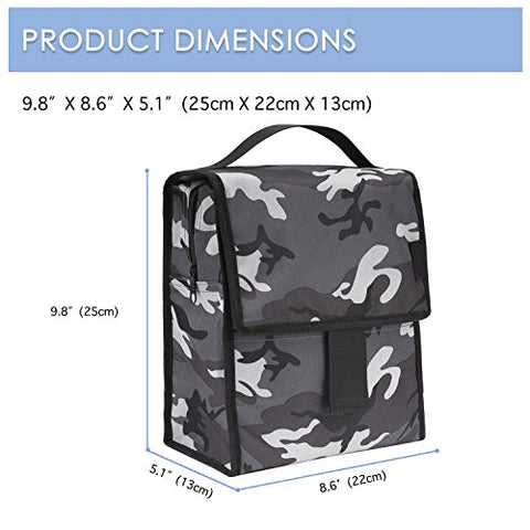 d2c230bc00db Insulated Lunch Bag, Moko Reusable Outdoor Travel Picnic School Lunch Box  Collapsible Tote Bag With Front Pocket, Zipper Closure, Foldable &  Multi-Use ...