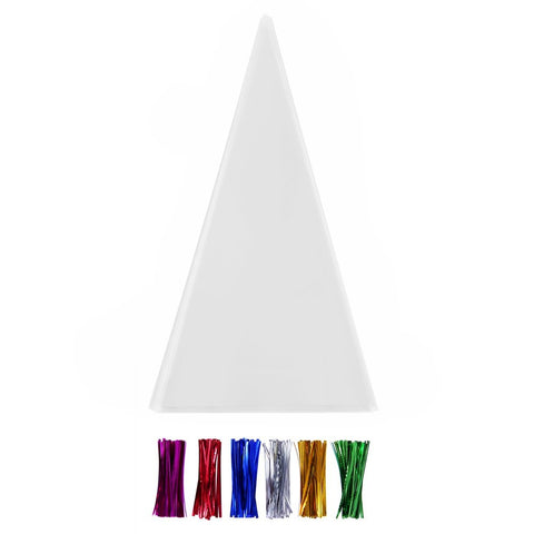 200 Transparent Cone Cello Bags With Twist Ties 6 Mix Colors - 1.4Mils Thickness Opp Plastic Bags (15'' X 7'' Cone)