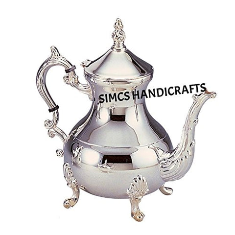 Luxury Original Moroccan Chrome Plated Brass Teapot Coffee Kettles Serveware Pitcher Hand Hammered Silver 850 Ml