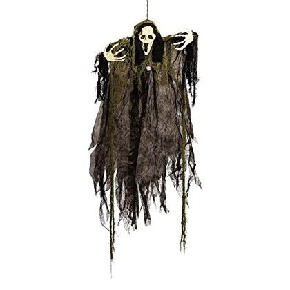 Halloween Haunters 4 Foot Hanging Screaming Open Mouth Ghost Prop Decoration - 1/3 Life-Size Scale Scary Grey, Black And White Ghoul Face - Haunted House Graveyard Entryway Display