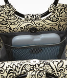 Fit & Fresh Women'S Retro Insulated Lunch Bag With Magnetic Snap Closure And Ice Pack, Classic Tote For Work Or School, Black & White Damask