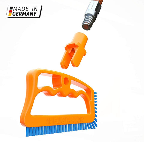 Fuginator Scrub Brush For Tile & Grout: Stiff Nylon Bristle Scrubbing Brush & Handle Connector - Bathtub / Shower Scrubber For Floor Joints & Seams - Cleaning Brushes & Supplies For Bathroom & Kitchen