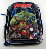 Marvel Avengers Age Of Ultron 16 Backpack - 3D Molded Battle Ready Iron Man With Printed Captain America, Thor, And Hulk Background