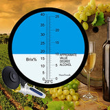 Refractometer Grape Wine Alcohol Dual Scale 0-25% Vol Alcohol & 0-40% Brix Refractometer With Atc For Wine Making, Bier Brewing, Homebrew Kit, Winemakers, Hamh Optics&Tools