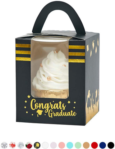 Yotruth Black And Gold Stamping Cupcake Boxes With Academic Hats Tassels Cap For School Graduation Favor 50 Sets (Choice Series)