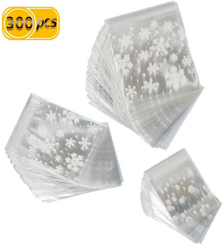 Pralb 300Pcs Christmas Cookie Bags, Resealable Opp Plastic Cellophane Cookie Bakery Candy Treat Gift Bags White Snowflake Plastic Party Bags Self Adhesive Candy Treat Bakery Bags For Christmas Holiday