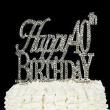 Happy 40Th Birthday Cake Topper 40 Party Supplies Decoration Ideas Silver (Happy 40Th Birthday Silver)